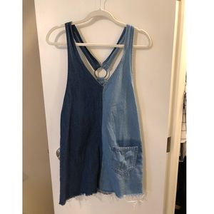 Denim Two-Tone Overall Dress
